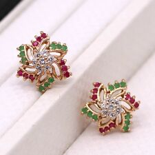 Wedding Stud Earrings Ruby Emerald Crystal 18K Yellow Gold Plated Women Earrings