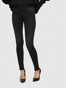 Women Slim Skinny Jeans Mid Rise Fit Faded Black Stretchable Ladies Jean Pants