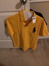 NWT Mens Polo Ralph Lauren Big Pony Polo Shirt Color Yellow/Navy LARGE $80