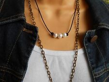 Genuine Leather Three Freshwater Pearl choker/necklace