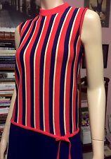 Vintage 1960s SAKS FIFTH AVE ITALY TRI-COLOR KNIT GO GO DRESS Pleated Skirt Bow