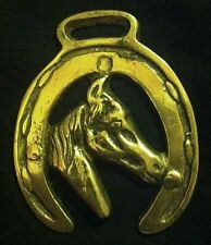 Small HORSE HEAD OFFSIDE IN HORSESHOE Horse Harness Brass from England Very RARE