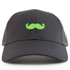 Youth Kid Green Mustache Patch Youth 6 Panel Trucker Baseball Cap- FREE SHIPPING