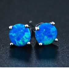 Women Gold Filled Rainbow Fire Opal Ear Stud Round/Heart  Stud Earrings Jewelry