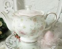 Kaffeekanne Teekanne Kanne Rosen Weiß Goldrand Shabby Landhaus Vintage