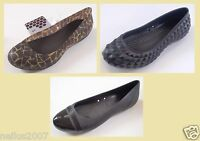 New Ladies Crocs Super Molded Black Ballerina Carlisa Giraffe Pumps Shoes UK 3 5
