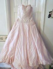 CHRISTINA WU 5466 Blush Pink w/Silver Beading Wedding Ball Gown Strapless Sz 10