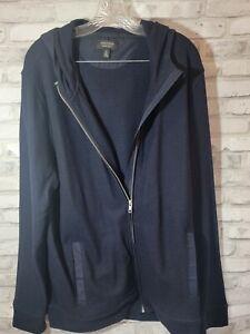 Nordstrom Men XL Navy Blue Full Zip Wood Blend Dress Jacket with Hood