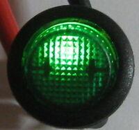 Cherry RR Round Illuminated Rocker SPST Switch - 125V 10A - 12 V Green Light