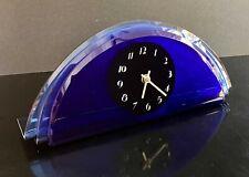 Vintage 1930's Art Deco Fyrart Cobalt Blue 3 Color Glass Mirror Clock - Nice