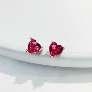 2Ct Heart Cut Red Ruby Diamond Solitaire Stud Earrings 14K White Gold Finish