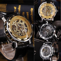 Classic Men's Black Leather Dial Skeleton Mechanical Sport Army Wrist Watch HOT