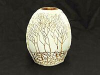 "HANDMADE STUDIO ART POTTERY CREAM STONEWARE VASE BROWN TREE & WALL 7.5"" T X 6"" W"