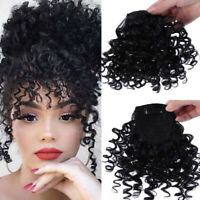 Clip on Jerry Curly Hair Bangs Clip in 100% Human Hair Front Fringe Hair Pieces