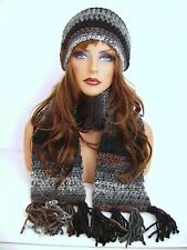 BLACK BROWN HAND CROCHET HAT AND SCARF SET HAND MADE BEANIE CLOCHE BOHO TAM CAP