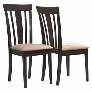 """Two 38.25"""" Cappuccino MDF Brown Microfiber and Foam Dining Chairs"""