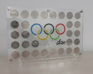 2012 London Olympics 50p Coins  Complete Set Of 29 In A Stunning  Display Frame