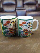 """Beautiful Asain Design""- 2 Matching Coffee Mugs- Asian Inspired Outdoor Scene *"
