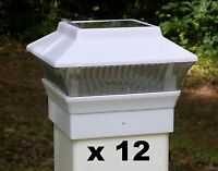 12 Solar Light Fence Post Caps - For 4X4 PVC VINYL Posts - White PL244W