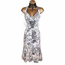 Vestido De Cóctel exquisito Karen Millen Marfil Corsé de jardín de fantasía UK 12 Bodas