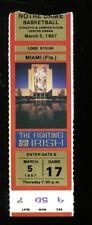 1987 Notre Dame v Miami Hurricane Basketball Ticket 3/5/87 33146