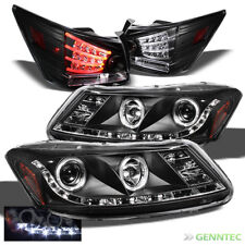 For 08-12 Honda Accord 4 Door Halo LED Pro Headlights+LED Tail Head Lights