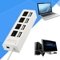 New 4 Port USB 2.0 Hub On/Off Switches + DC Power Adapter Cable for PC Laptop ^