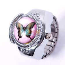 PRO Woman  Child Lady Girl Butterfly Elastic Quartz Finger Ring Watch  C