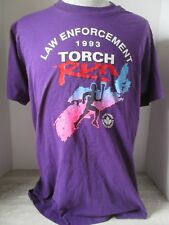 Vtg 1993 Screen Stars Purple T-Shirt Law Enforcement Torch Run Nova Scotia Large