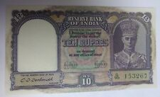 1943 ND India 10 Rupees Banknote