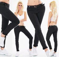 Italy Mujer Pantalones Chinos Negocios Tela Stretch Lunares Cinturón S-XXL