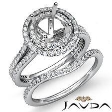 Diamond Halo Pave Setting Engagement Ring Round Bridal Set 18k Gold White 2.2Ct