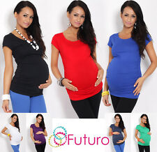 Women's Maternity Top Short Sleeve Scoop Neck Tunic Pregnancy Sizes 8-18 5010
