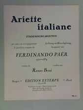 euterpe FERDINANDO PAER / RENZO BOSSI ariette italiane