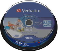 10 Verbatim Rohlinge Blu-ray BD-R full printable 25GB 6x Spindel