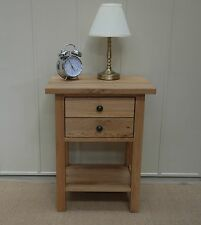 ASHLEY MILTON SOLID OAK SIDE LAMP TABLE TWO DRAWERS WITH SHELF ROUND HANDLES