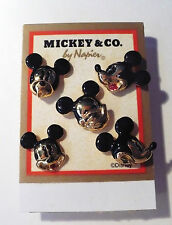 VINTAGE DISNEY MICKEY MOUSE SET OF 5 FUNNY FACES TAC PIN NOC NICE COLLECTIBLE