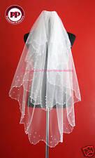 2 Tier White Pearl Bridal Veil- Waist Length Soft Tulle