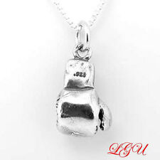 """STERLING SILVER BOXING GLOVE 3D CHARM WITH 16"""" BOX CHAIN NECKLACE"""