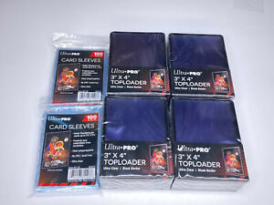 (100)Ultra-Pro Black Border Standard Hard Card Toploaders+(200) soft sleeves