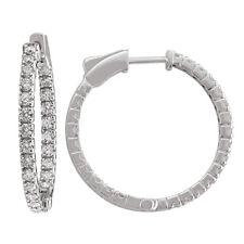 14k White Gold Diamond Huggies, 2.00tdw (NEW hoop earrings design, 32.6mm) 4464