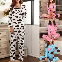 Women Cartoon Dairy Cattle Print Long Sleeve Pajamas Set With Pockets Sleepwear