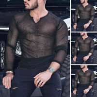 Mens Long Sleeve V-Neck Mesh See Through Muscle T Shirt Clubwear Blouse Tops Tee