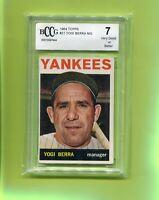 YOGI BERRA NEW YORK YANKEES 1964 TOPPS BASEBALL CARD #21 BECKETT GRADED 7