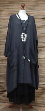 "LAGENLOOK COTTON MIX OVERSIZE CARDIGAN/COAT*CHARCOAL*BUST UP TO 60"" XL-XXL-XXXL"