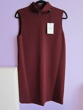THEORY Womens Crepe Red Slit Collar Dress Size 8 dark currant NEW WITH TAGS