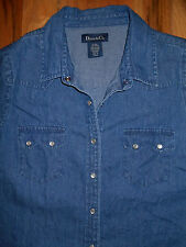 Western Denim Blouse 8-10 Womens S Shirt Blue Top Pearl Snaps Short Sleeves 6w14