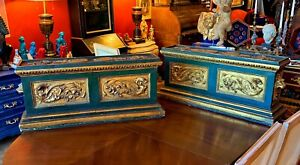 Rare Pair of Large 19th century Florentine Carved parcel Gilt Pedestals