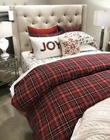 Pottery Barn Lynbrook Duvet Cover Red Queen 2 Standard Shams Plaid New