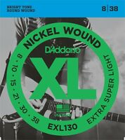10 Sets D'Addario EXL130 Extra Super Light Electric Guitar Strings 8-38 pack